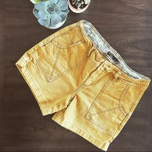 prAna Mustard Yellow Corduroy Shorts